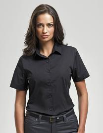 Ladies Stretch Fit Poplin Short Sleeve Cotton Shirt